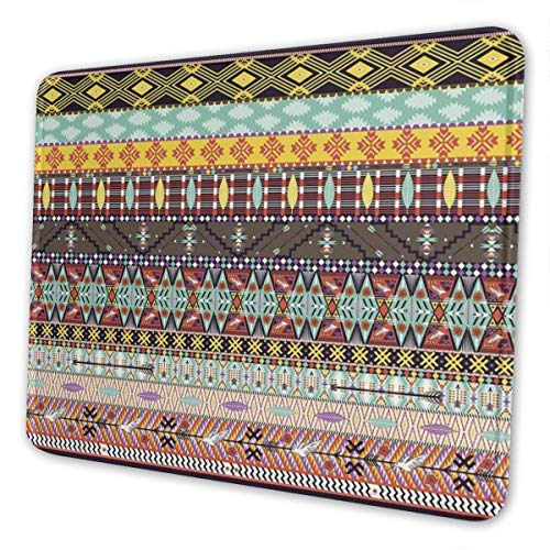 Seamless Colorful Geometric Tribal Rug with Birds and Arrow Mousepad Non-Slip Rubber Gaming Mouse Pad Rectangle Mouse Pads for Computers Laptop (10X12 Inch)