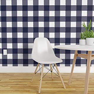 Spoonflower Peel and Stick Removable Wallpaper, Navy Gingham Plaid Blue Buffalo Check Modern Nursery Woodland Print, Self-Adhesive Wallpaper 24in x 36in Roll