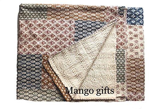 Mango Gifts Patchwork Kantha Quilt Queen Size Baumwolle Floral Tagesdecke, hergestellt von Artisans of India ca. 223,5 x 269,2 cm
