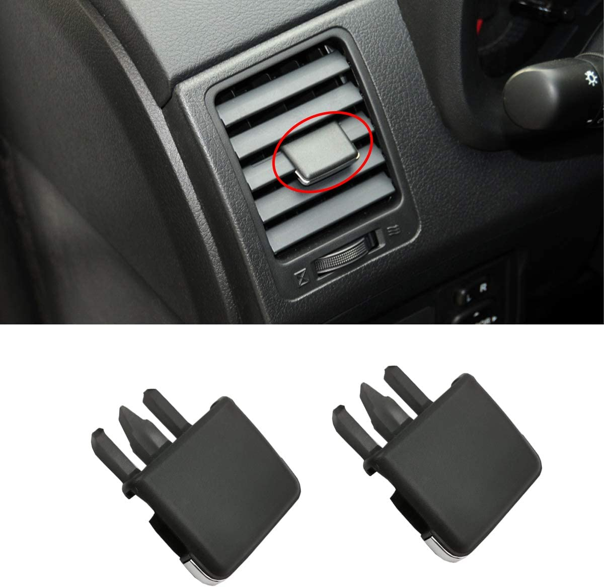 Front AC Vent Adjustment Buckle Repair Kit for Toyota Corolla 2009-2013 Moonlinks for Toyota Corolla Left and Right Side Air Vent Outlet Tab Clips Set of 2,Black