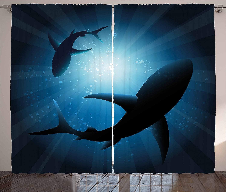 tienda de pescado para la venta ABAKUHAUS Tiburón Cortinas, Cortinas, Cortinas, Natación De Los Pescados Siluetas, Set de Dos Paos Decorativo con Estampa Digital, 280 x 175 cm, Azul Oscuro  venta mundialmente famosa en línea