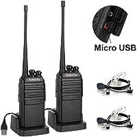 2-Pack Radioddity GA-2S Long Range UHF Two Way Radio Rechargeable Walkie Talkies with Micro USB Charging + USB , 2 Pack