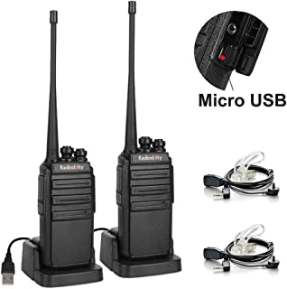 featured product Radioddity GA-2S Long Range Walkie Talkies UHF Two Way Radio Rechargeable with Micro USB Charging + USB Desktop Charger + Air Acoustic Earpiece with Mic, 2 Pack