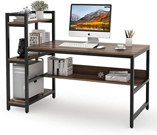 Tribesigns Computer Desk With 4 Tier Storage Shelves 60 Inch Modern Large Office Desk Computer Table Studying Writing Desk Workstation With Bookshelf And Tower Shelf For Home Office Dark Walnut