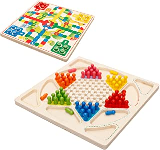 Drizzle Ludo Board Game & Chinese Checkers 2 in 1 Natural Wooden Board Flying Chess Family Game for Adults and Kids
