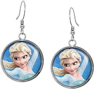 Disney's Frozen Elsa Necklace, Anna Pendant, Olaf Earrings, Princess Elsa Jewelry, Sven Kristoff Geek Geeky Gift, Arendelle Bridesmaid Wedding Present, Snow Queen Nerd Nerdy Gifts