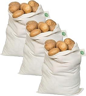 """Best Potato Storage Bags for Pantry - Organic Cotton Potato Sacks - Washable Potato Keeper & Potato Holder with Drawstring - Root Vegetable Storage Sacks for Onion, Potato, Garlic (3 X Large - 14""""x18"""") Review"""