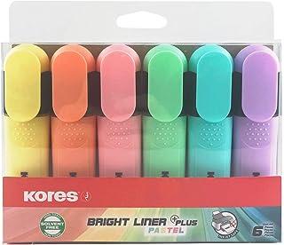 Kores Bright Liner Surligneur Pointe biseautée Marqueur de texte plat Lot de 6 couleurs pastel tendance