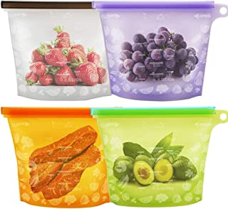 Reusable Silicone Food Bags Food Grade Food Storage Bags Lunch Sandwiches Bags for Vegetable, Fruit, Meat, Milk , Snack - FDA Approved Silicone Bags Ideal for Freeze Steam Heat Sous vide and Microwave