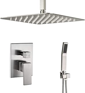 Artbath Ceiling Mount Shower System Brushed Nickel with 12 Inch Rain Shower and Handheld,Shower Faucet Rough-In Valve Body and Trim Included,Luxury Rain Shower Set