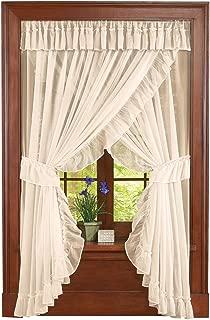 Collections Etc Isabella Ruffled Sheer Fabric Rod Pocket Window Curtain Set, Cream