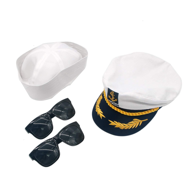 HUELE 4 只装 Yacht 船长和帆船服装配饰套装船长帽和帆船帽男女皆宜