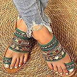 JUSTMAE Zapato de Mujer Verano Estilo Griego Boho Folk-Custom ArtesanalZapatillas Planas para Mujer Casual Transpirable Cómodas Sandalias de Playa para Mujer