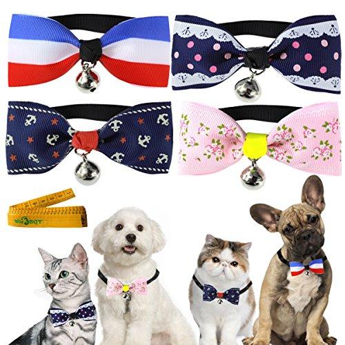 Sanfte Elegant Katze Hund Kaninchen Haustier Fliege Halsband mit Tuch Schleife und Legierung Bell für kleine Katzen Kätzchen Hunde Puppy Kaninchen, 4PCS