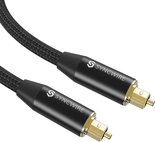 Syncwire Câble Optique Audio Numérique Toslink Câble Fibre Optique en Nylon Tressé [Plaqué Or] pour HiFi Home Cinéma,...