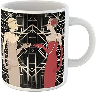 Semtomn Funny Coffee Mug Roaring Flapper Girl Retro Party Invitation Design Vector Illustration 1920S 11 Oz Ceramic Coffee Mugs Tea Cup Best Gift Or Souvenir