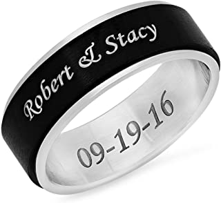 Forevergifts Free Engraving - Stainless Steel Two Tone Spinner Ring