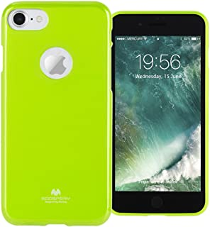 GOOSPERY Marlang Marlang iPhone 7 Case - Lime Green, Free Screen Protector [Slim Fit] TPU Case [Flexible] Pearl Jelly [Protection] Bumper Cover for Apple iPhone7, IP7-JEL/SP-LIM
