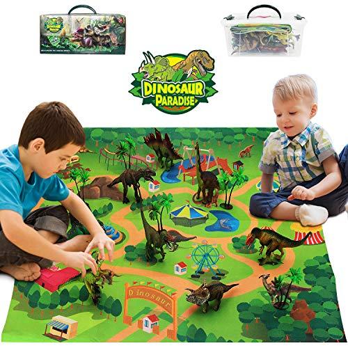 Bdwing Giocattoli Dinosauri Set, Dinosauro educativi realistici con Tappetino da Gioco per Creare Un Jurassic World, tra Cui T-Rex, triceratopo, Velociraptor, Regalo per Bambini