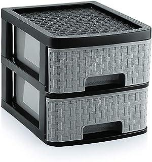 Liza Plastic Multipurpose Modular Drawer (2 Racks, Grey, Maze)