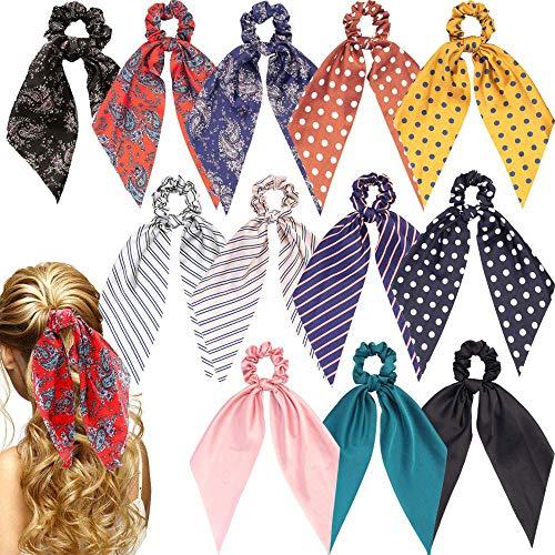 12 Stück Haarschal Haar Scrunchies Chiffon Floral Scrunchie Haarbänder Pferdeschwanzhalter Scrunchy Krawatten 2 in 1 Vintage Accessoires für Frauen Mädchen… (ColorM)