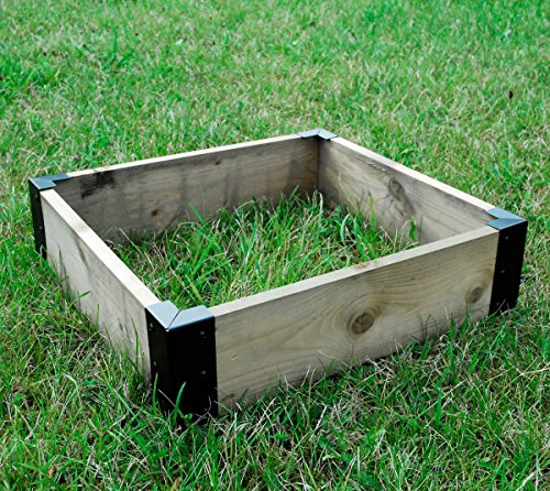 Large Corner Brackets Raised Bed Bedding Vegetable Planet Box Garden x 4 - Black