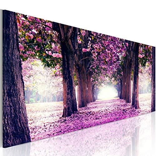 decomonkey Bilder Blumen Landschaft 120x40 cm 1 Teilig Leinwandbilder Bild auf Leinwand Vlies Wandbild Kunstdruck Wanddeko Wand Wohnzimmer Wanddekoration Deko Natur Wald Alee