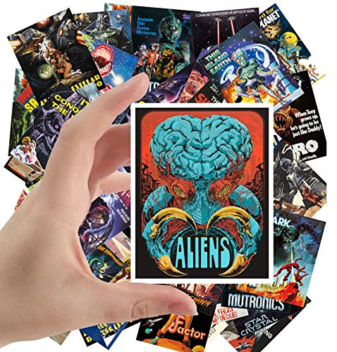 Large Stickers (24 pcs 2.5'x3.5') Aliens and Sexy Girls Scifi Vintage Trash Horros Movie Posters