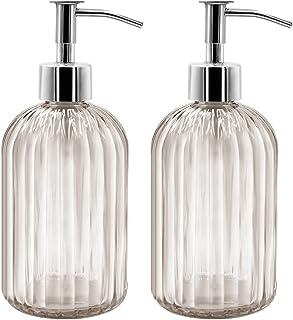 Lot de 2 distributeurs de savon en verre, 400 ml, distributeur de savon liquide pour shampooing, lotion, distributeur en v...