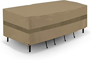 SunPatio Upgraded Outdoor Table and Chair Cover, Waterproof Patio Furniture Set Cover with Sealed Seam, 76''L x 46''W x 30''H, FadeStop, All Weather Protection, Taupe