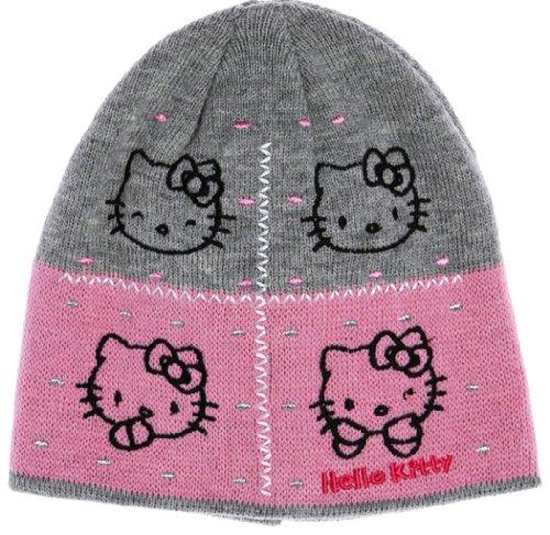 Hello kitty-Bonnet visage de kitty enfant fille ref 4007 gris/rose 2/5ans