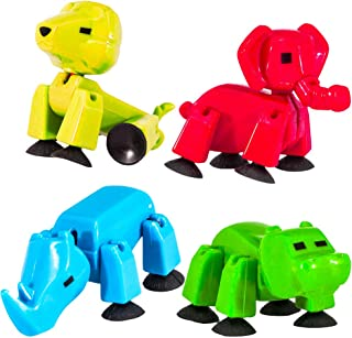 Stikbot Safari Pets Set -- Pack of 4 Stikbots Toys Animals Family, Assorted Colors (Lion, Elephant, Hippo, Rhino)