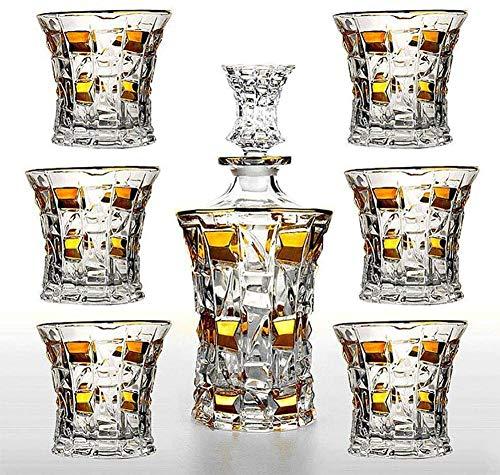 ZKHD Decantador De Whisky Y 6 Whiskey Glasses Bar Set, Hecho Decanter for Liquor Scotch Bourbon Vodka, Artículo Cualquier Ocasión Especial