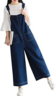 Women's Loose Baggy Wide Leg Cropped Denim Jumpsuit Rompers Overalls Pant