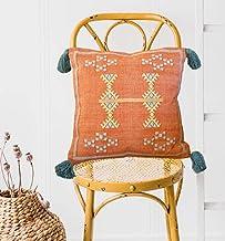 satTva Cushions - Red/Burnt Orange Moroccan Cactus Silk Inspired Cushion Cover with Grey Tassels for Sofa 45x45 - Decorati...