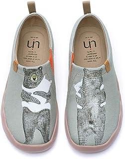 UIN Mocasín de Mujer Verano,Mocasín de Cuero Casual Diseñado Holgazán de Mujer Zapatos Comodos de Zapatos Mujer Lona