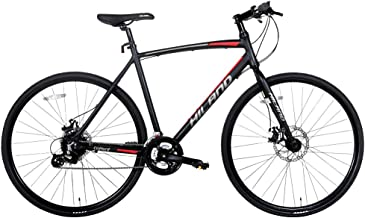 Hiland Aluminum Hybrid Road Bike for Men Women Teenager,Comfortable Urban Commuter Bicycle with 24 speeds, Dual Disc-Brake