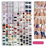 20 feuilles 280 Pcs 3D Autocollants pour Ongle Nail Sticker Auto-Adhésives +1 pcs Lime À Ongles pour Décoration Nail Bricolage (280Pcs Ongle Nail Sticker)