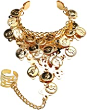 Yozone Belly Dance Gold Triangle Bracelet Hand Jewelry Ladies Gold Bracelet Ladies Belly Dance Jewelry Coin Bracelet Bracelet with Ring - 2 PCS