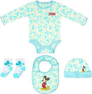 Juego de regalo de bienvenida para niño de Disney Mouse. Body, gorro, babero, calcetines, 1-3 meses, 100% algodón