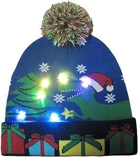FarJing Ugly LED Christmas Hat,Unisex Novelty Colorful Light-up Stylish Knitted Sweater Xmas Party Beanie Cap
