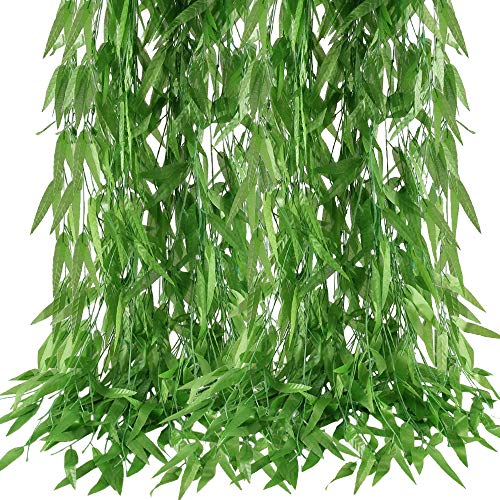 HUAESIN 50 Pcs Artificial Willow Hanging Vines Garland FakeTrailing Willow Rattan Wicker Twig Faux Ivy Leaves Greenery Foliage for Wedding Home Balcony Courtyard Decor 375 Ft