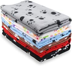 Eagmak Cute Dog Cat Fleece Blankets with Paw Prints for Kitten Puppy and Small Animals Pack of 6 (Black, Brown, Blue, Grey...