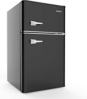 KUPPET Retro Mini Refrigerator 2-Door Compact Refrigerator for Dorm, Garage, Camper, Basement or Office, 3.2 Cu.Ft (Black)