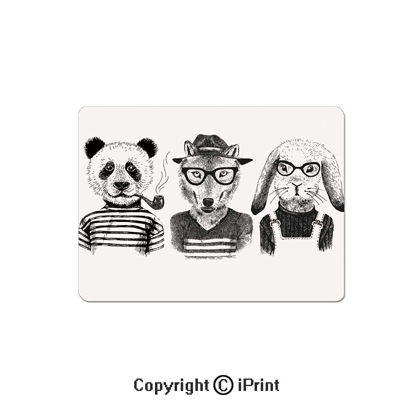 Thick 3mm Gaming Mouse Pad Hipster Panda Bear Cigar Fox and Rabbit Glasses in Human Clothes Illustration Personality Design Non Slip Rubber Mouse Mat,7.1x8.7 inch,Black Grey White