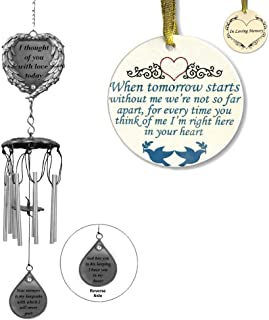 BANBERRY DESIGNS Memorial Windchime and Keepsake Ornament Combo - Gift Pack of in Loving Memory Chimes and Disk Ornament