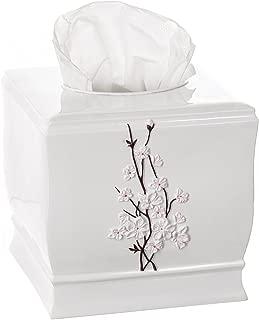 Creative Scents Vanda Tissue Box Cover Square - Decorative Bathroom Tissues Napkin Holder with Bottom Slider, for Kleenex Cube Tissue Box (White)