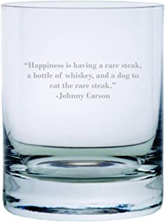 Johnny Carson Quote Etched 11oz Stolzle New York Crystal Rocks Glass