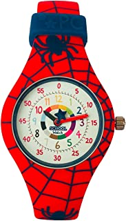 School Watch (Spider) - Teach Your Child to Tell Time in 5 Minutes Thanks to The Most Intuitive Dial! Hypoallergenic Kids Silicone Watch with Shock Resistant Japan Seiko Movement & Battery