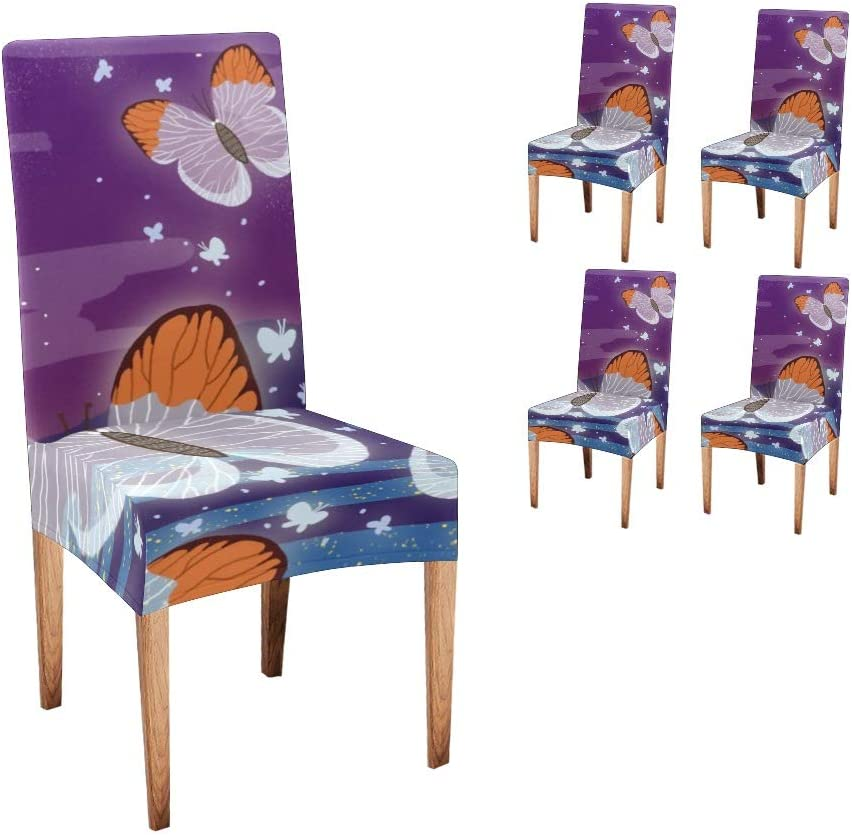 CUXWEOT Chair Covers for Dining Starry Bombing free shipping Sky Butterfly Atlanta Mall Room Print